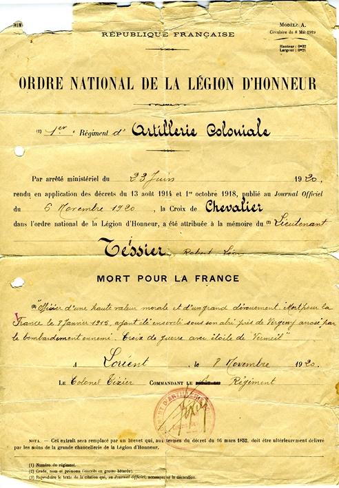 Ordre national de la le gion d honneur croix de chevalier attribue e au lieutenant tessier